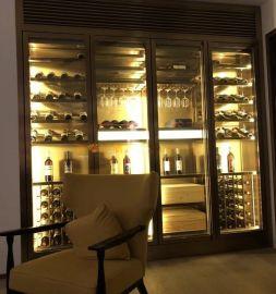 不锈钢恒温不锈钢酒柜定制不锈钢红酒架酒柜展示柜
