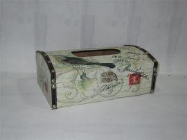 创意来图定制纸巾盒 家居收纳仿古餐巾盒 欧式复古木质抽纸盒批发