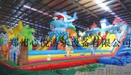 大鯊魚新款兒童充氣大滑梯XY甘肅大型充氣滑滑梯樂園