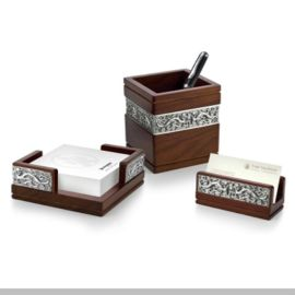 泰国锡器 祥龙办公三件套 商务送礼 笔筒 名片夹 名片盒 套装