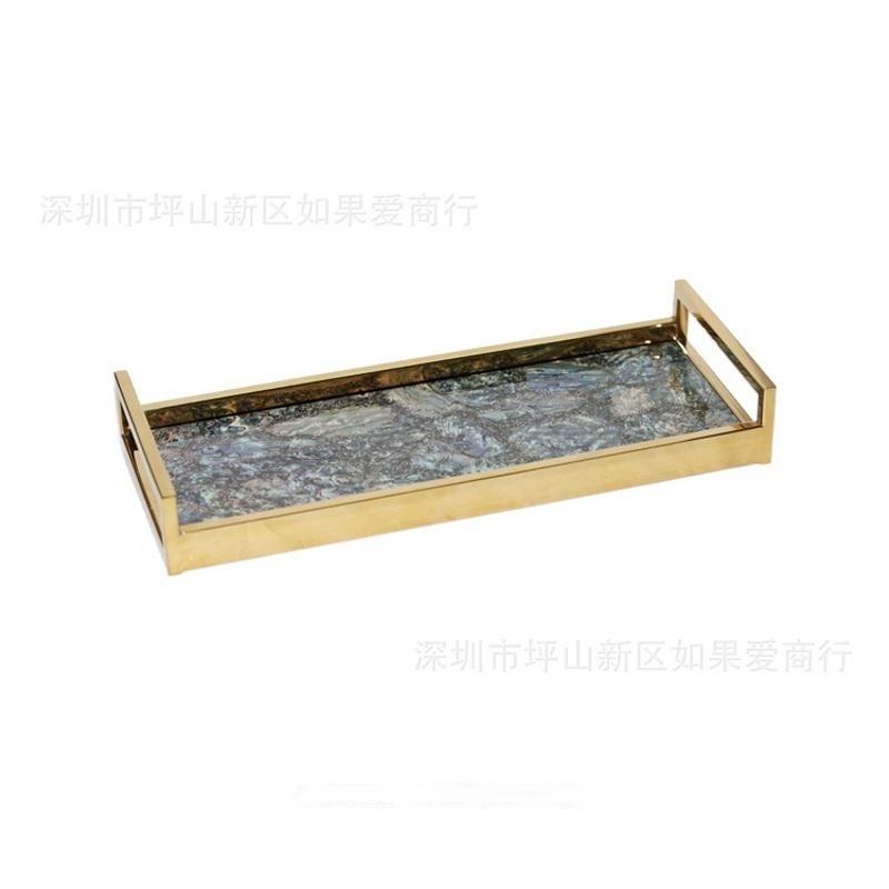 中式木製質長方形鮑魚貝殼木質鋼琴烤漆鈦金不鏽鋼托盤擺件樣板間