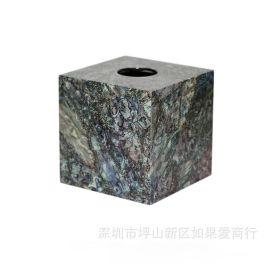黑色木质正方形鲍鱼贝壳纸巾盒欧式创意客厅卧室酒店样板房间摆件