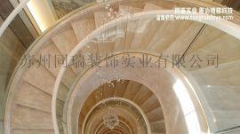 别墅圆形楼梯玻璃楼梯扶手
