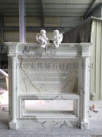 意大利进口天然雪花白大理石欧式雕刻壁炉
