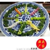 景德镇陶瓷大盘子手绘青花山水装饰现代壁挂盘厘米