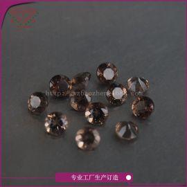 梧州工厂直销天然宝石天然茶晶(烟水晶)裸石圆形1.0mm订各规格