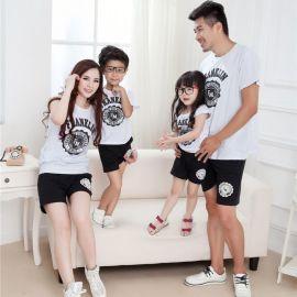 韩国亲子装夏装短袖t恤亲子套装夏亲子装外贸秋
