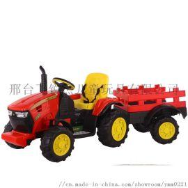 儿童拖拉机电动四轮带拖斗遥控玩具车超大工程车