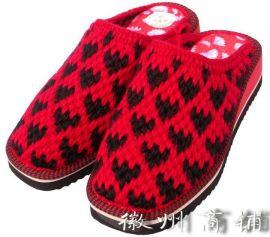 手工女式红黑双色保暖拖鞋-TX004