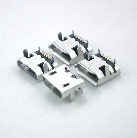 现货microusb母座MICRO 5P B型SMT小牛角-直边带柱贴片MICRO插座