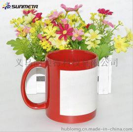创意陶瓷夜光杯礼品 涂层红色夜光杯定制 热转印马克杯厂家批发