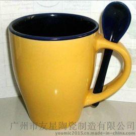 创意陶瓷杯子 卡通马克杯 带勺牛奶杯 水杯茶杯 厂价直销