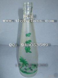 玻璃饮料瓶,磨砂烤花玻璃饮料瓶