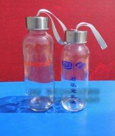厂家直销玻璃水杯,不锈钢提绳盖玻璃水杯
