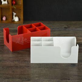 爆款吸管盒亚克力红色纸杯架奶茶店咖啡店纸巾盒方形按需定制
