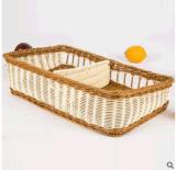 酒店藤製批發仿藤編織籃方形創意鏤空斜身麪包籃市貨架置物籃雙格