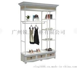 木质 烤漆展柜定做 柜台  品牌女装复古实木展示柜