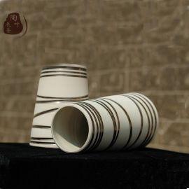 长沙窑手工陶瓷简约现代花瓶白色金边家居饰品时尚摆件插花器客厅装鉓