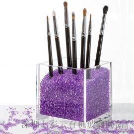 亚克力化妆刷收纳筒梳妆台彩妆眉笔粉刷收纳盒透明笔筒