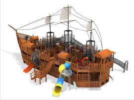 北京户外大型户外海盗船,钻网攀爬木质景观船