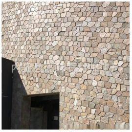 天然锈色石英岩文化石 别墅黄色文化石外墙 邢台文化石石英块石