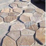 天然青石板文化石黄锈色多边形网帖石 锈石板冰裂纹 黄木纹碎拼石