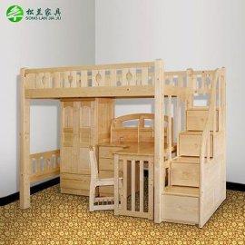 松兰儿童高低床宜家高架床梯柜床实木上下床衣柜床功能组合双层床