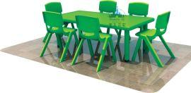 幼儿园配套教学设施 儿童塑料桌椅 幼儿六人长方桌