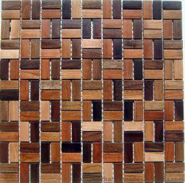 木风寨实木马赛克MFZ-A018背景墙 黑胡桃/缅茄木 墙贴
