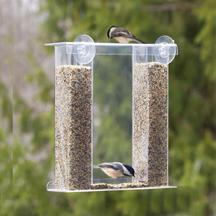 歐美戶外亞克力鳥餵食器訂製 有機玻璃田園鷯哥麻雀鳥類餵食器 自動鳥餵食器批發廠家