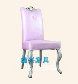 鑫兴欧式实木餐椅椅子 现代简约木椅子软包靠背椅餐桌椅书桌椅凳子