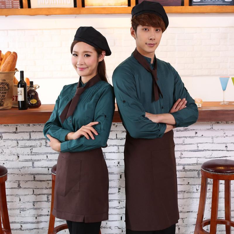 工作服長袖秋冬裝茶樓火鍋快餐店西餐廳三件套圍裙領巾