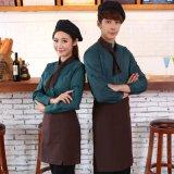 工作服长袖秋冬装茶楼火锅快餐店西餐厅三件套围裙领巾