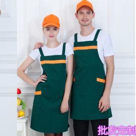 時尚韓版圍裙定制LOGO印字時尚    店餐廳廚房男士工作服務員