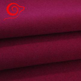 玫红双面羊绒面料 顺毛大衣面料 绒毛粗纺面料