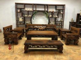 萬豪老船木萬字閣沙發組合全實木沙發客廳沙發