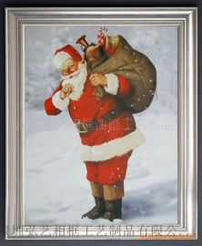 相框廠家定制 耶誕節日禮品相框、聖誕老人油畫框、裝飾帆布畫框