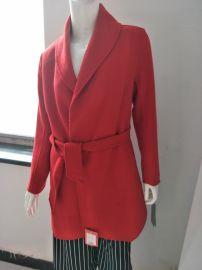 廠家直銷批發雙面呢羊絨大衣純色歐美外套買一送一