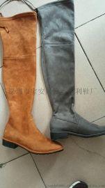 批发靴子 超高筒过膝弹力平跟长靴订做