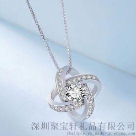 珠宝礼品 S925纯银镶嵌吊坠 时尚显气质奢华闪耀项链 女款 银饰品