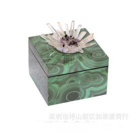 现代中式正方形绿色孔雀石首饰盒木质天然结晶石饰品收纳盒摆件