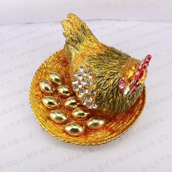 金屬工藝品禮品金雞下蛋禮品