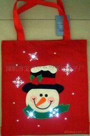 LED发光圣诞礼品外包装纸袋闪光无纺布袋光纤发光袋万圣节纸拉花