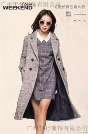 艾格ETAM冬装品牌折扣女装大衣风衣外套库存一手货源批发