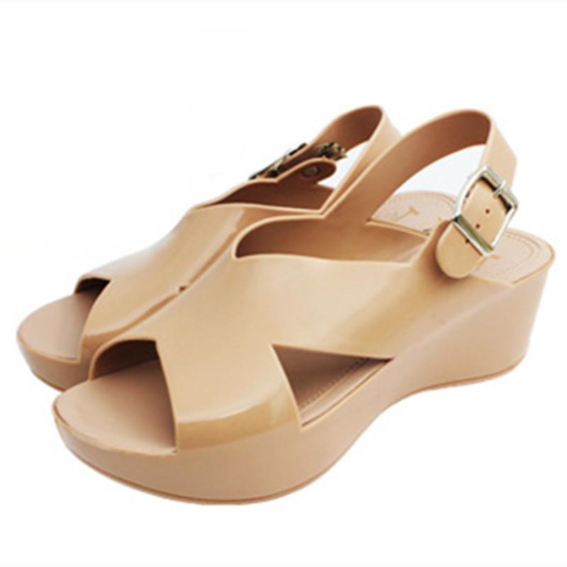 行之美601女式甜美时尚夏季果冻水晶坡跟鱼嘴凉拖鞋