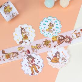 来图定制可爱猫咪与小女孩日常小事手帐胶带