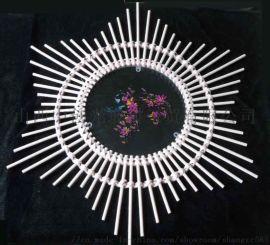 竹编水晶玻璃微雕双面彩绘挂件
