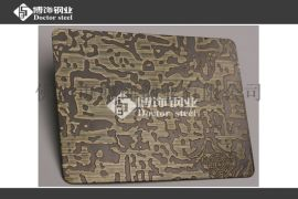 不锈钢镀铜厂 不锈钢青古铜蚀刻自由纹