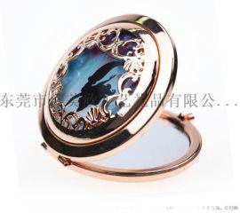 鏤空化妝鏡合金化妝鏡簡約歐式折疊便攜禮品鏡子可定制