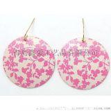 瑞丽风流行甜美粉色印刷耳环